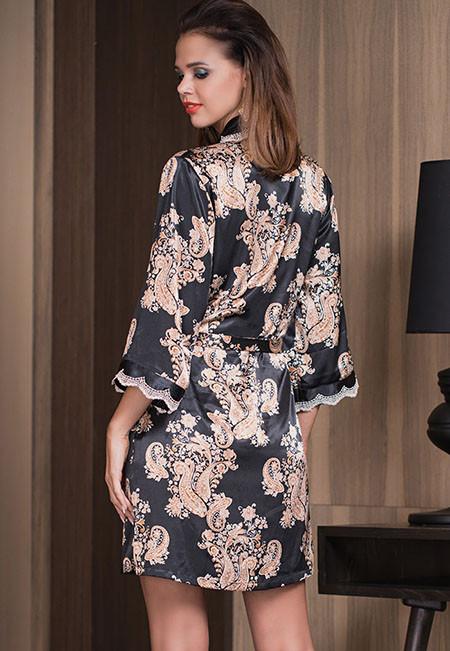 Короткий халат, шёлк Mia-Mia GOLDEN FLOWER 3303