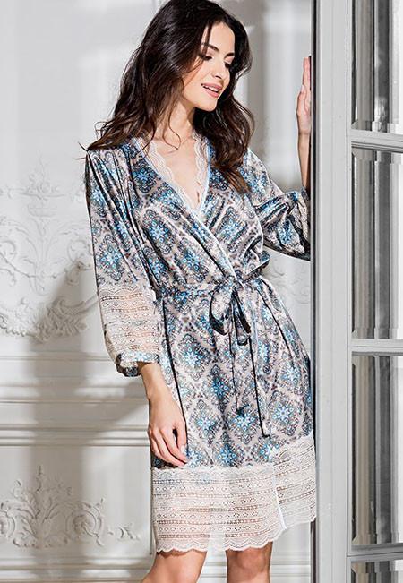 Короткий атласный халат Mia-Mia PALERMO 9693