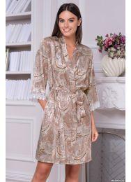 Короткий шёлковый халат с запахом Mia-Mia CLEMENTINA 3453