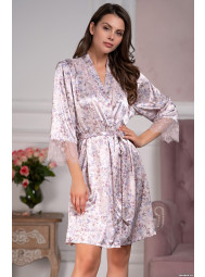Короткий шелковый халат с запахом Mia-Mia VLADLENA 3593